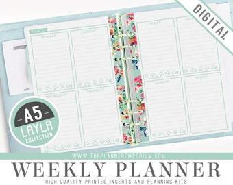 A5 Weekly Planner Inserts - LAYLA Collection - Fits Kikki K Large, Filofax A5 Printable Pages - Week on Two Pages - Retro Vintage Designs