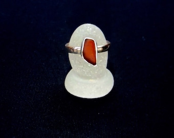Sea Glass Ring Sz 6 1/2 (M 1/2). Solid Sterling Silver Ring With Red Sea Glass Setting. Rare, Genuine Sea Glass. Bezel Set Sea Glass.