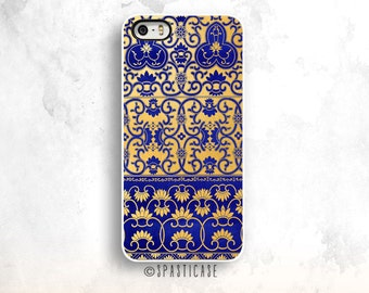 Blue Gold iPhone 6 Case, Gold iPhone 6S Case, iPhone 5S, Pattern iPhone 5C Case, iPhone 6 Case, iPhone 6 Plus Case,Blue Gold pattern iphone