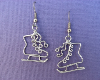 SKATING EARRINGS wire wrapped skates