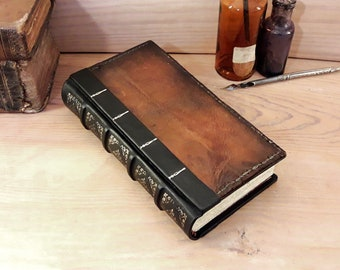 Vintage Brown Leather Journal, Antiqued pages, Silver decoration - Weathered