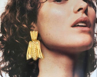Vintage 80s Statement Gold Earrings / Oversized Door Knocker Earrings / Vintage 80s Earrings
