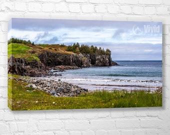 Rugged canvas art, Canadian seascape, rugged wall art, landscape photograph, north atlantic ocean, large canvas art, 5 panel art, 5 feet