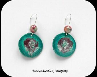 ETSY// Boucles d'oreilles#turquoise# motif fait main, ronde turquoise, montage argenté dormeuse