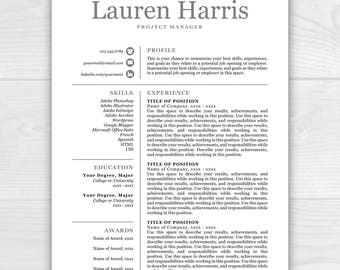Resume Template, Professional Resume, Resume Template Instant Download, Resumes, Cover Letter + References, Mac + PC