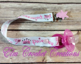 Silver Sparkle and Shine Princess Basic Pacifier Clip - Ready to Ship! ABDL/DDLG/Age Play