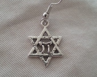 Star of David and Chai Symbol Earring, Nickel and Lead Free Earring, Religious Symbol Jewelry, Men's Earring, Single Earring