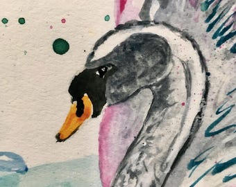 Swan Print 'The Brave Princess' Watercolour Ataxia Uk Charity
