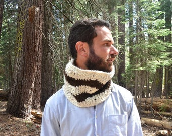 Crochet Scarf Pattern Snood Scarf Pattern Mens Womens Crochet Scarf DIY Chunky Chevron Zig Zag Striped Cowl Beginner