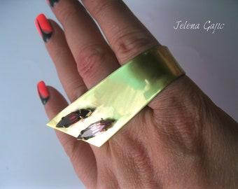 Unique Handmade Brass Statement Ring.  Big Statement Brass Ring . Statement Ring  Brass Jewelry