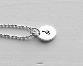 d Necklace, Sterling Silver Jewelry, Letter d Pendant, d, Hand Stamped Jewelry, Monogram Necklace, Charm Necklace, Initial Necklace, d Charm
