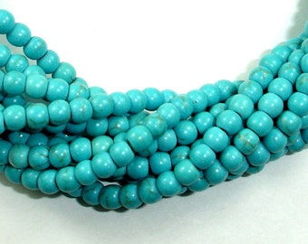 Turquoise Howlite Beads, Round, 4 mm, 15.5 Inch, Full strand, Approx 110 beads, Hole 1 mm (213054001)