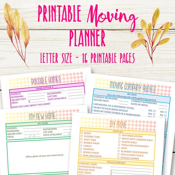 Moving Planner Printable Moving Checklist Packing Inventory