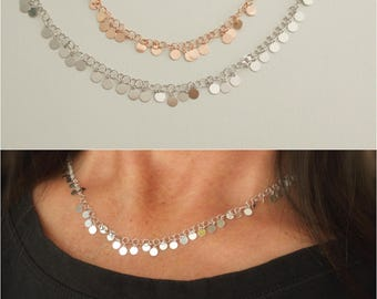 Shimmer disc necklace - trendy disc necklace - tiny disc charms - rose gold disc necklace - silver disc necklace -