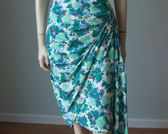 1950s Hannah Troy Cotton Sarong Skirt Dress with Lots of Pleating and Side Swag / Drapey Strappy Hourglass Bombshell Party Attire / Small