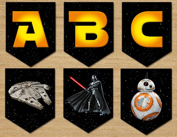 Star Wars Banner Party Birthday Banner Star Wars Digital