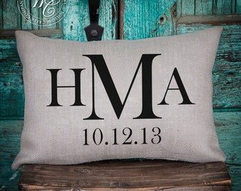 5 year anniversary, Home Decor, Personalized Pillow, Burlap Pillow, Engagement Gift, Personalized Gift, Monogram Pillow, Triple initial
