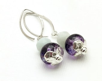 Purple Lampwork Amazonite Silver Minimalist Dangle Earrings  Three Styles Here for Her Under 100 Free Gift Wrap