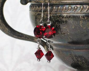 Red Rhinestone Dangle Earrings, Red Crystal Earrings