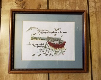 Framed cross stitch picture wall decor boat