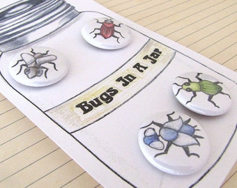 Bugs Pinback Buttons - Bugs In A Jar - Set of 4 1 inch Pin Back Buttons