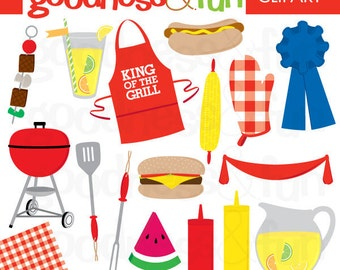 Buy 2, Get 1 FREE - Time to BBQ Clipart - Digital Summer Clipart - Instant Download
