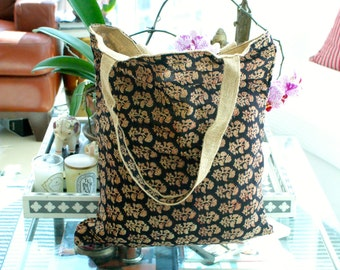 Indian Hand Block Print Cotton Voile and Jute Burlap Market Grocery,Shopping, Beach Laptop Tote Bag Reversible Large