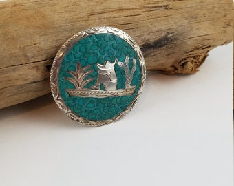 Sterling Siesta brooch silver turquoise brooch pendant convertible pin sleeping mexican PR3425