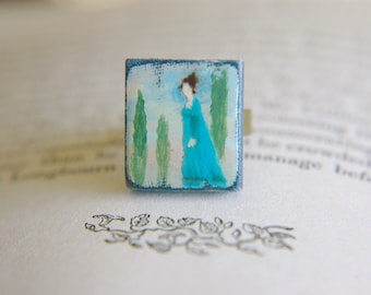 Statement Ring Jane Austen Inspired Hand Painted Pride and Prejudice  - Miss Bennet at Rosings.