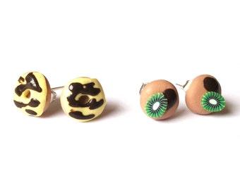 Doughnut Chocolate Earrings ( ear studs donut polymer clay mini food funny jewelry girl earrings )