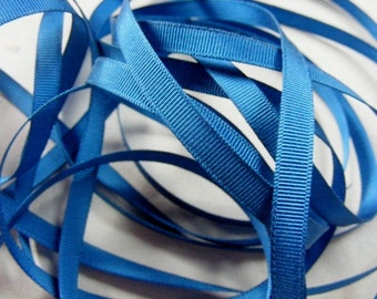Vintage 1940's-50's French Grosgrain Ribbon 3/8 inch Soldier Blue