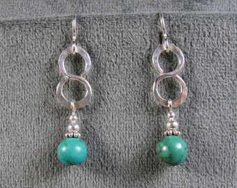 Sterling Silver Turquoise Hammered Infinity Earrings
