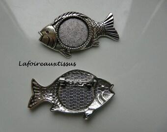 fish cabochon 20 mm brooch finding