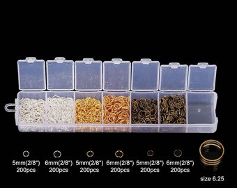 Box with Assortment of 1200pcs Jump Rings-5mm-6mm and Tool! 3 Colors! Silver Plated, Gold Plated, Bronze!
