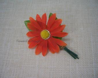 Daisy Boutonniere Persimmon Orange with Rhinestones, Wedding Lapel Pin