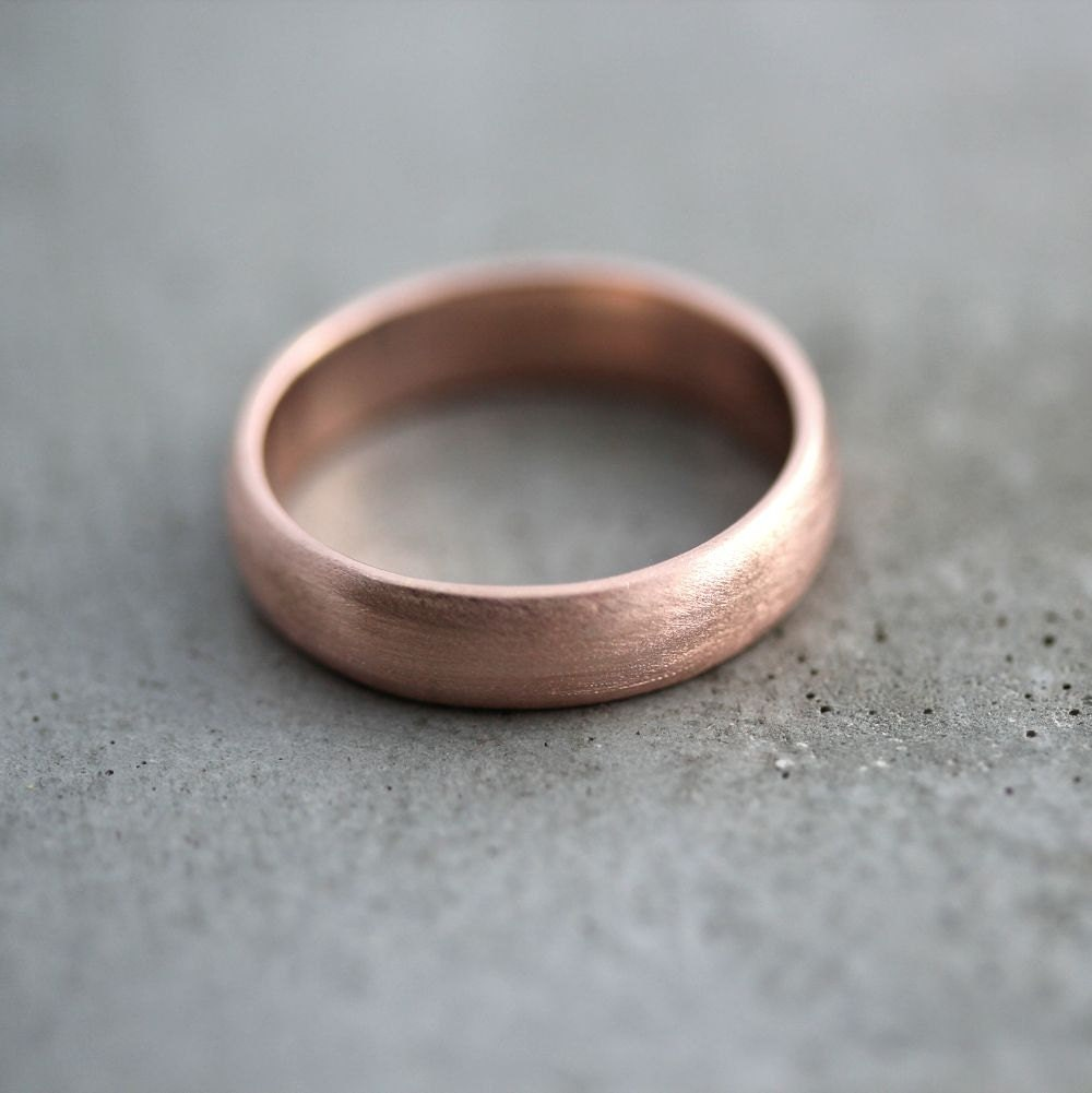 Famous Rose Gold Men's Wedding Band Brushed Matte Men's 5mm AO46