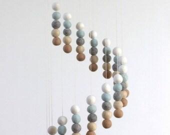 Spiral Felt Ball Mobile- Neutral Nursery- Ice Blue, Tan, Almond, Gray, White-  Nursery Childrens Room Pom Pom Mobile Garland Decor