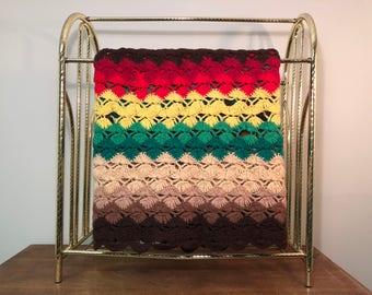 "60"" x 40"" Crochet Rastafarian Brown, Red, Green & Yellow Shell Pattern Afghan / Lap Blanket / Throw"