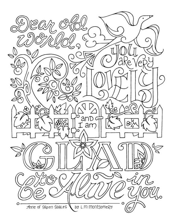 quote coloring pages for adults | Anne of Green Gables Coloring Page / LM Montgomery / Quotes