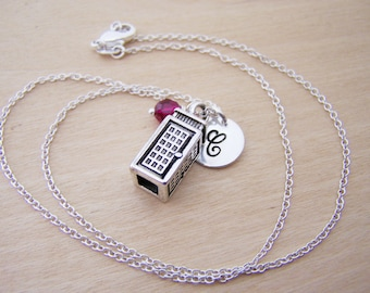 Phone Booth Tardis Dr Who Charm Necklace Swarovski Birthstone Initial Sterling Silver Necklace / Gift for Her - Personalized Jewelry