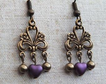 Bronze charm earrings, purple heart earrings