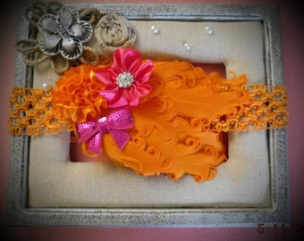 Orange and Pink Ostrich Feather Headband