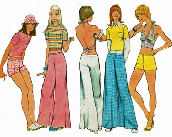 T shirt Halter Top Bell-Bottom Hip Hugger Pants or Shorts 1970s Size 10 Bust 32 1/2 Sewing Pattern 70s Simplicity 5640