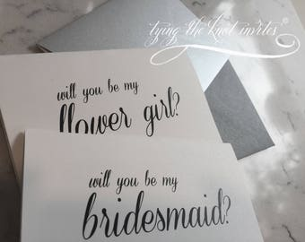 Wedding note cards, will you be my, wedding stationary, bride to be, bridesmaid, wedding party, thank you cards, SET of 10 cards