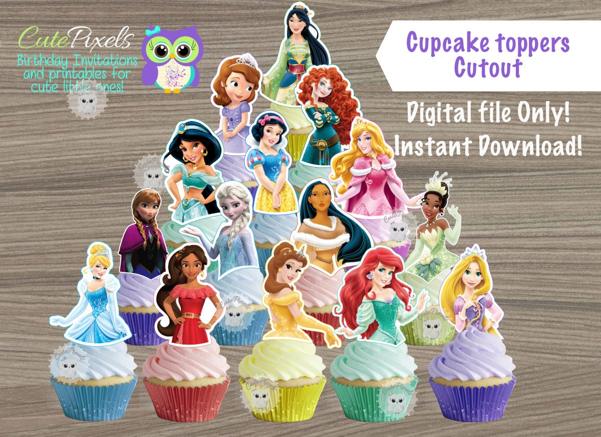 This is a photo of Impeccable Disney Princess Cupcake Toppers Free Printable