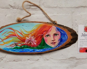 Goddess, decorative plaque, Gaia art, Mother Earth, Earth goddess,  rustic plaque, gift for her, gift idea, home decor, free postage, pagan