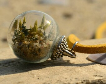 Terrarium necklace , moss terrarium jewelry , terrarium bead necklace , terrarium jewelry , moss jewelry , sea sand jewelry