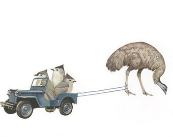 The great emu rescue.  Limited edition print by Vivienne Strauss.