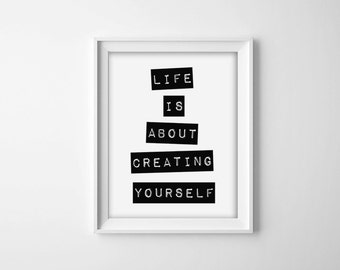 Motivational Poster, Inspirational Print, Black and White Sign, Minimal Poster, Minimal Art, Typography Poster, Modern Quote Print
