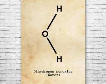 Water H2O Molecule Poster Science Art Print, Delicious Water, H2o Poster, Water Poster, Water Art, H2o Art, Science Chemistry, Chemistry Art